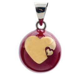 BABYLONIA BOLA red with big & small heart in gold